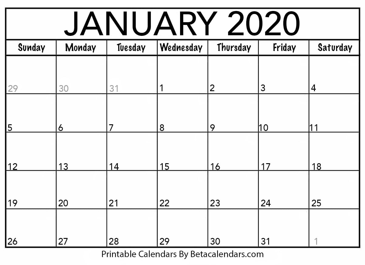 Print January 2020 Calendar Blank January 2020 Calendar Printable   Beta Calendars