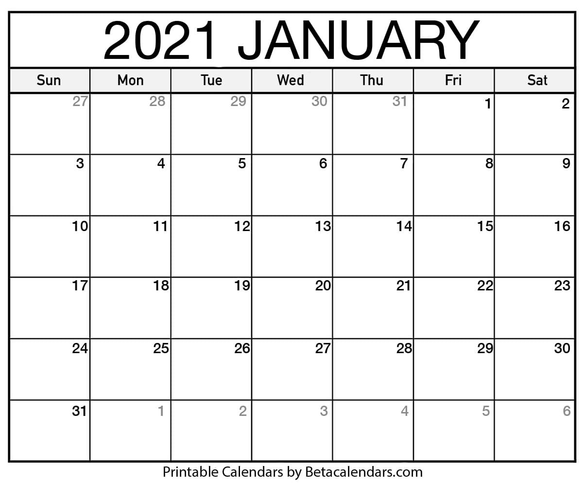 Printable Calendar 2021 Download Print Free Blank Calendars