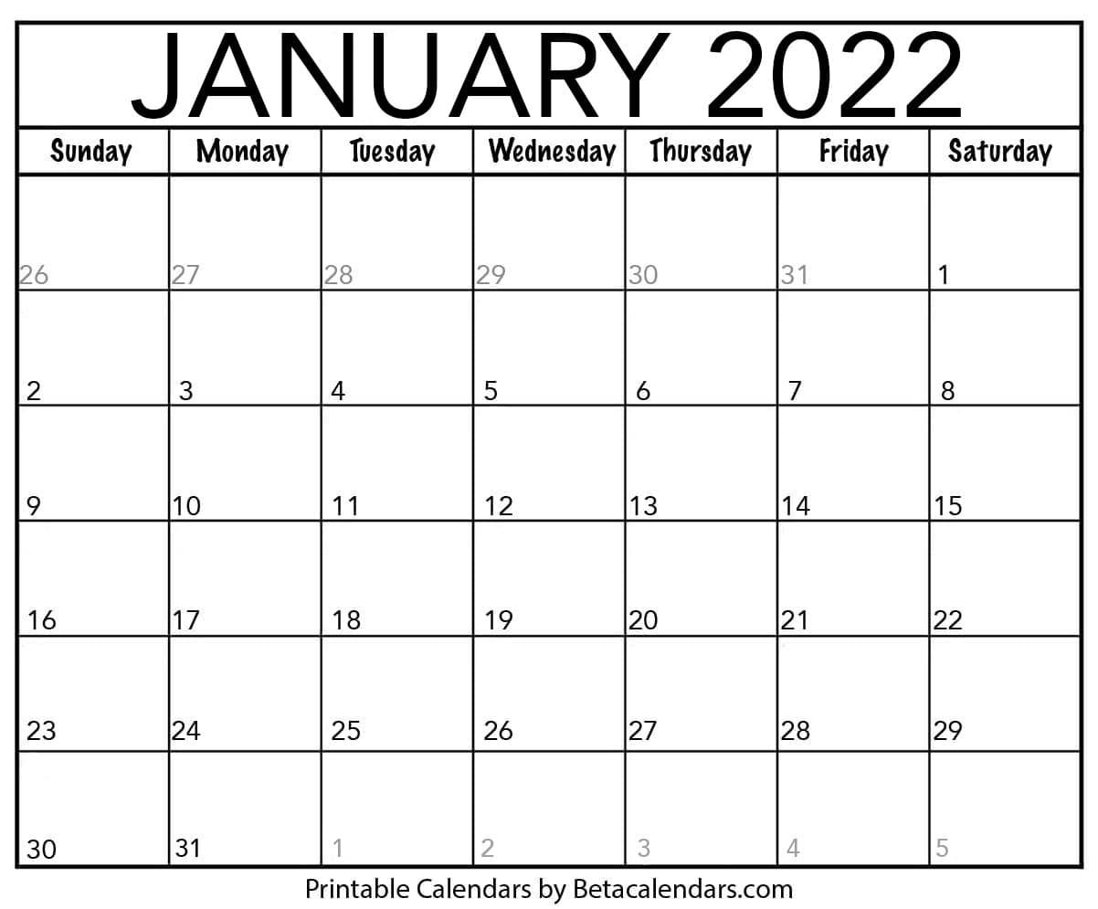 December 2023 January 2022 Calendar Printable.Free Printable January 2022 Calendar
