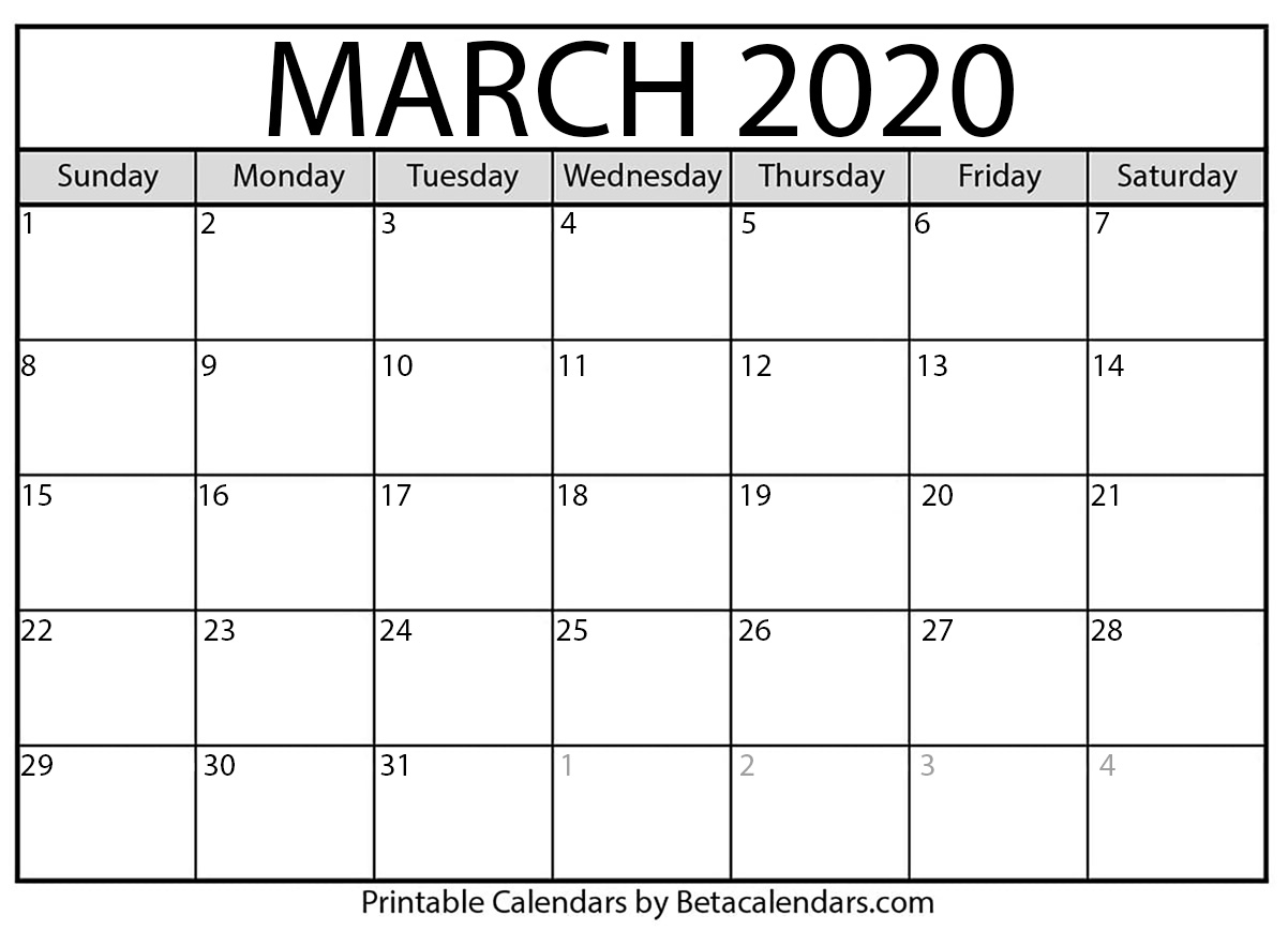 image regarding Calendar March Printable named Blank March 2020 Calendar Printable - Beta Calendars