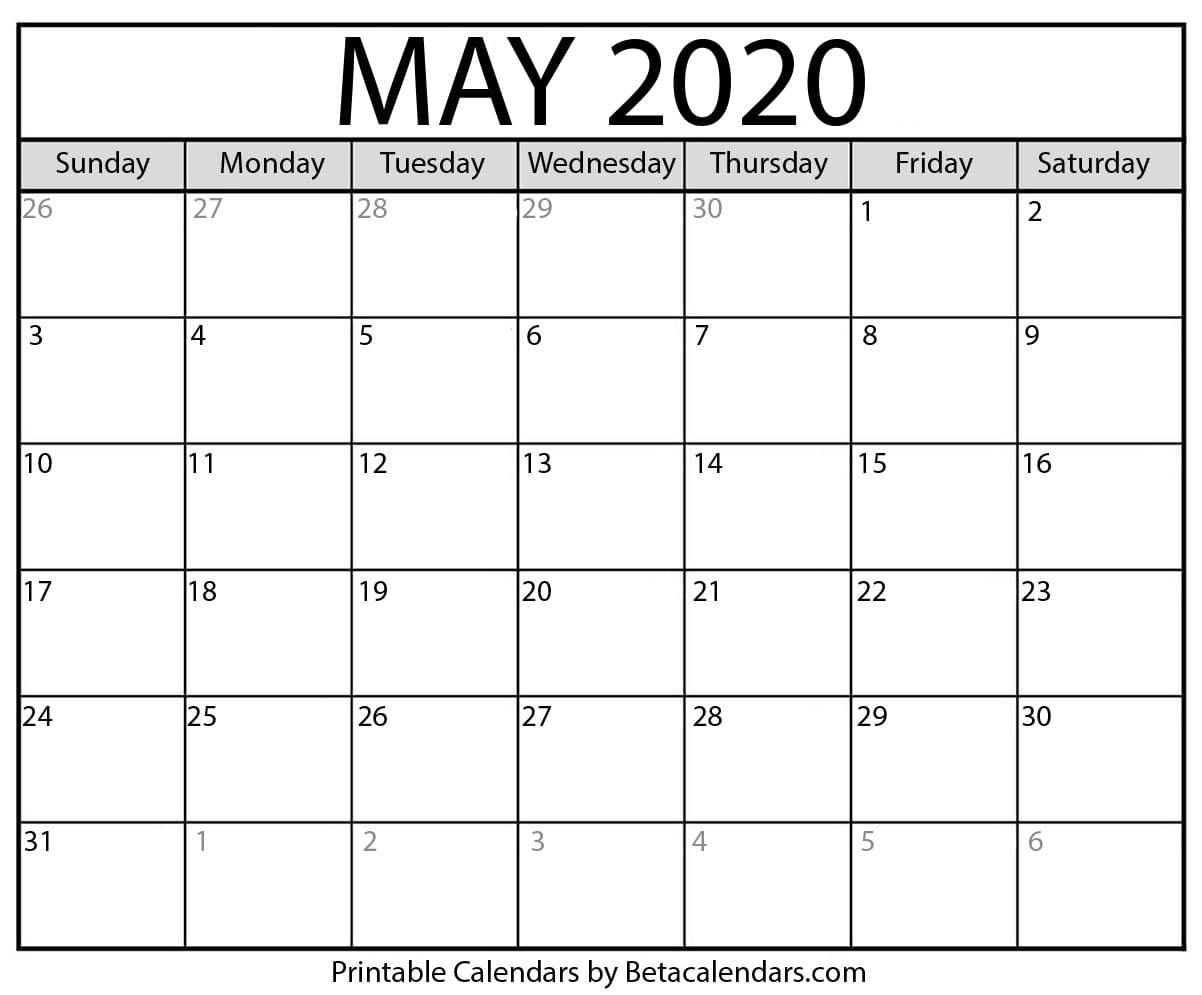 photo relating to Printable Calendar 2020 named Blank May perhaps 2020 Calendar Printable - Beta Calendars