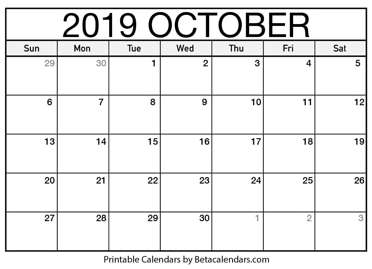 image regarding Free Printable October Calendars named Blank Oct 2019 Calendar Printable - Beta Calendars