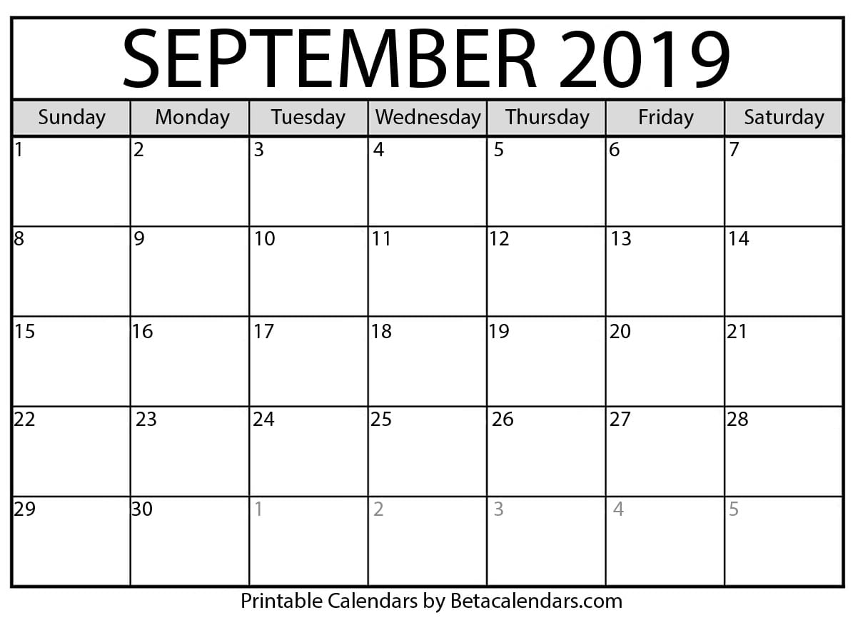 Blank September 2019 Calendar Printable - Beta Calendars