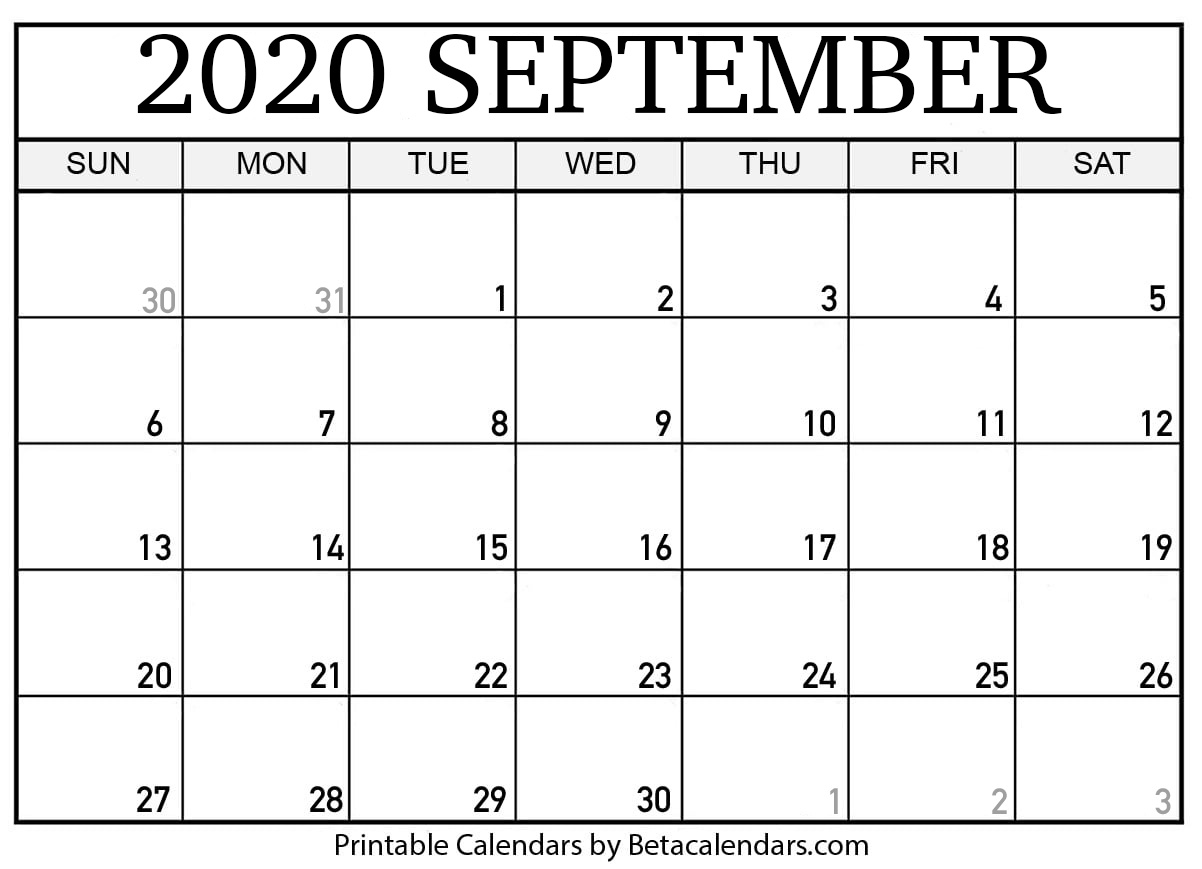 Download Large Print Free Printable Monthly Calendar September 2020 Pictures