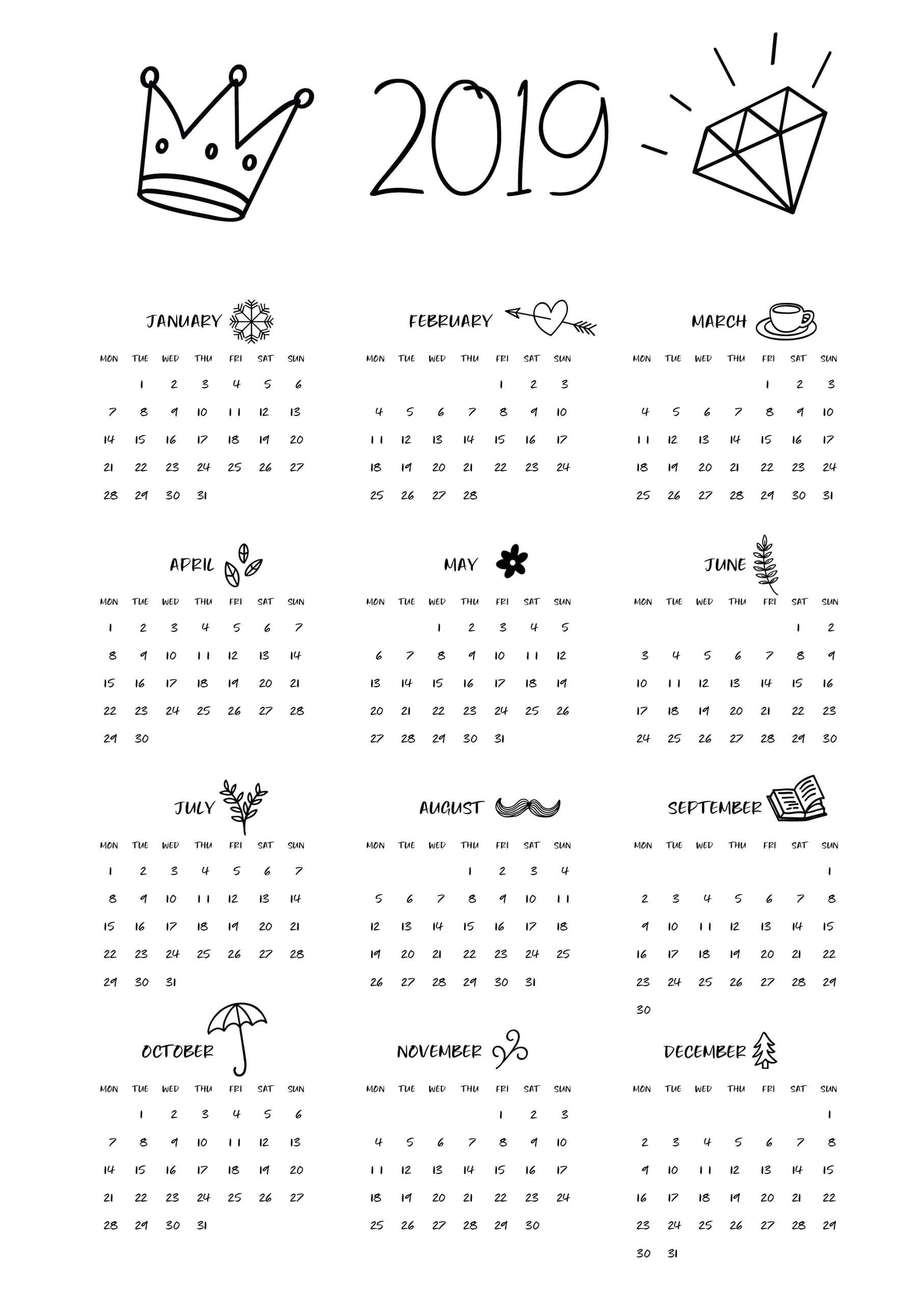 photograph regarding Calendars Printable identified as 2019 Calendar - Beta Calendars