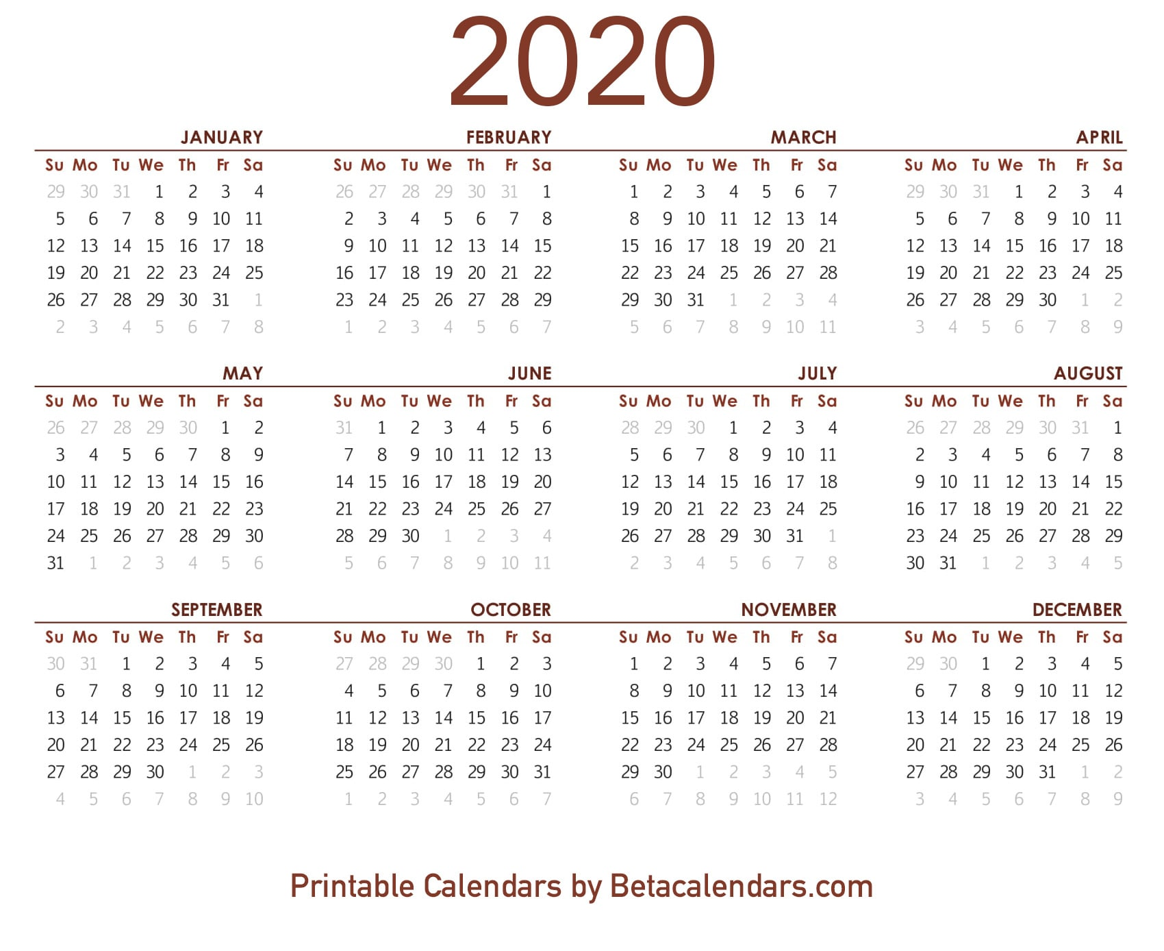 picture relating to Printable Calendar 2020 known as 2020 Calendar - Beta Calendars