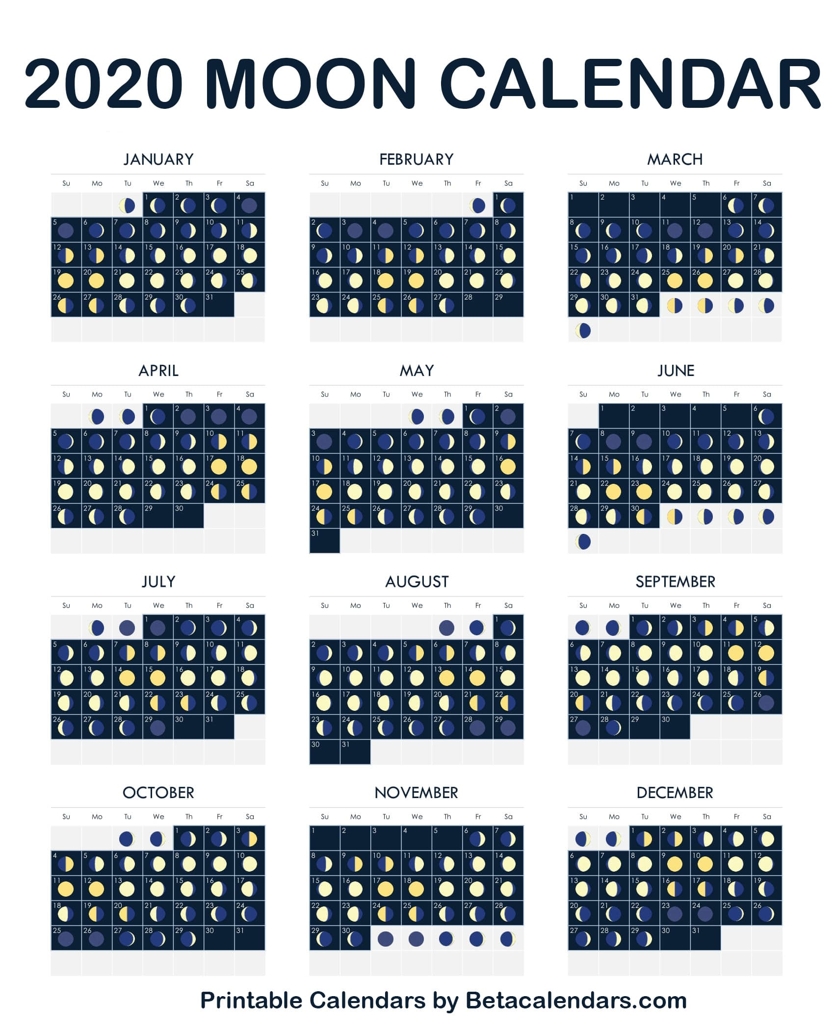 Moon Phases Calendar.2020 Calendar Beta Calendars