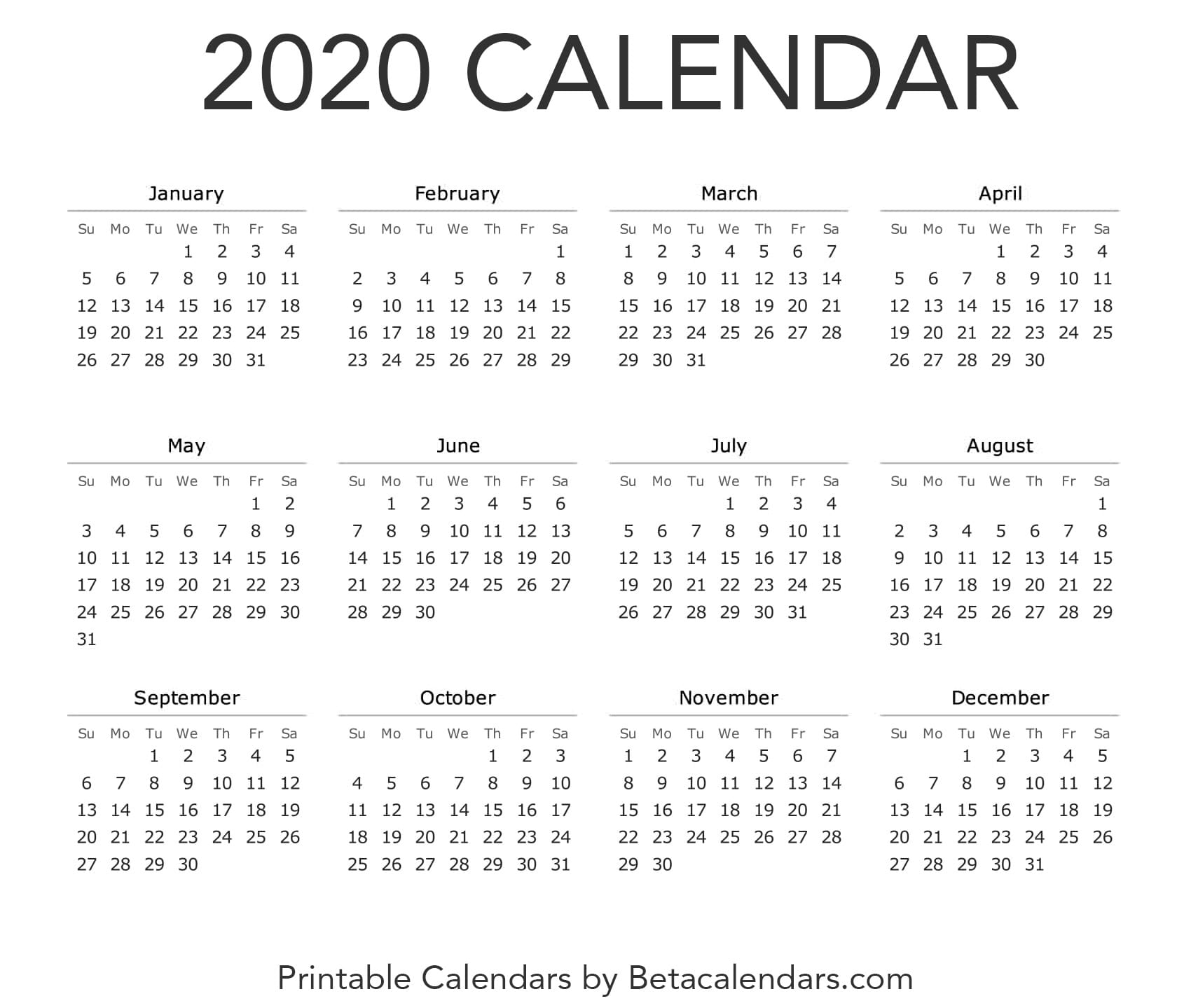 photograph relating to Free Printable 2020 Calendar called 2020 Calendar - Beta Calendars