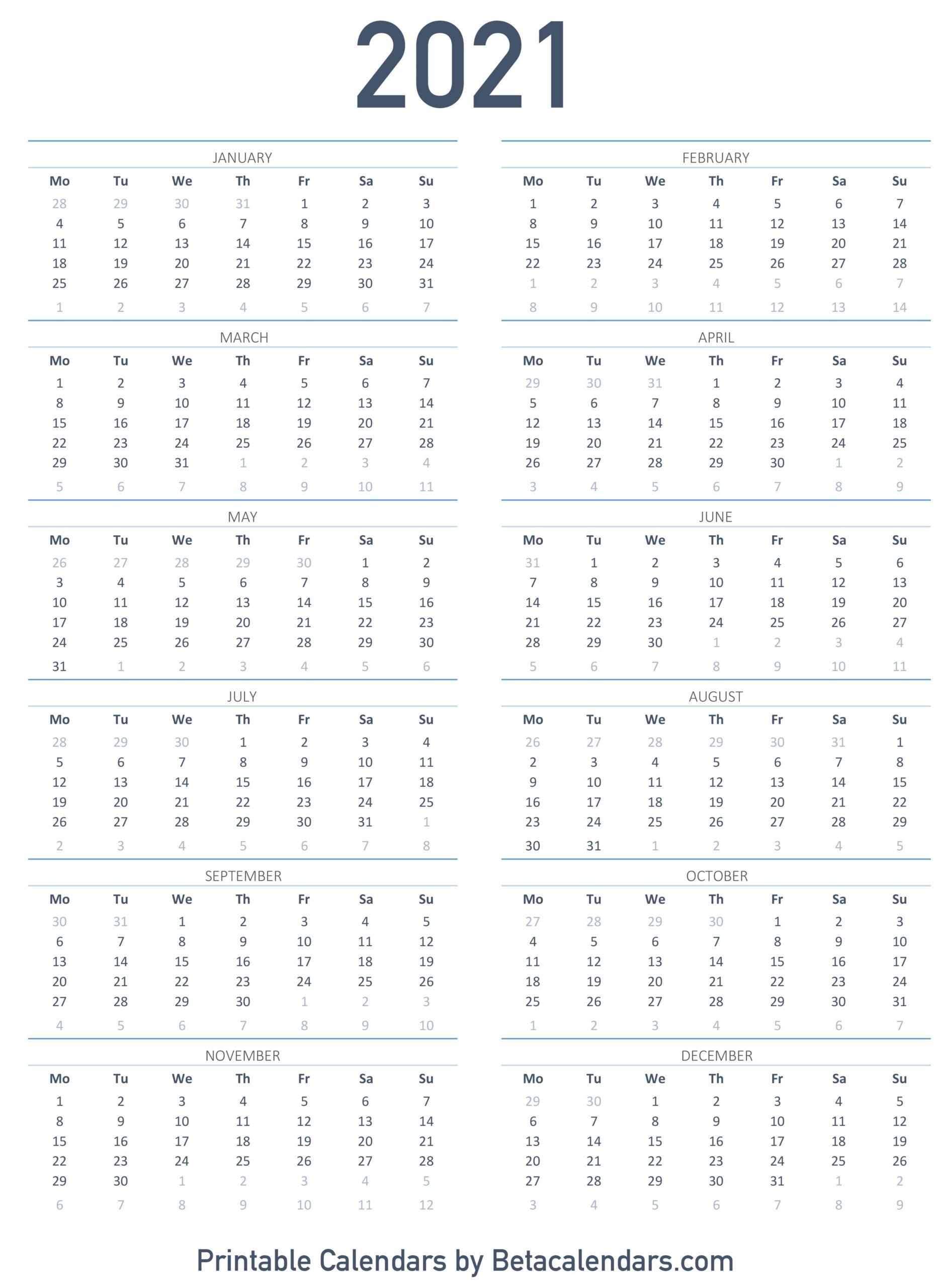 2021 Calendar Printable