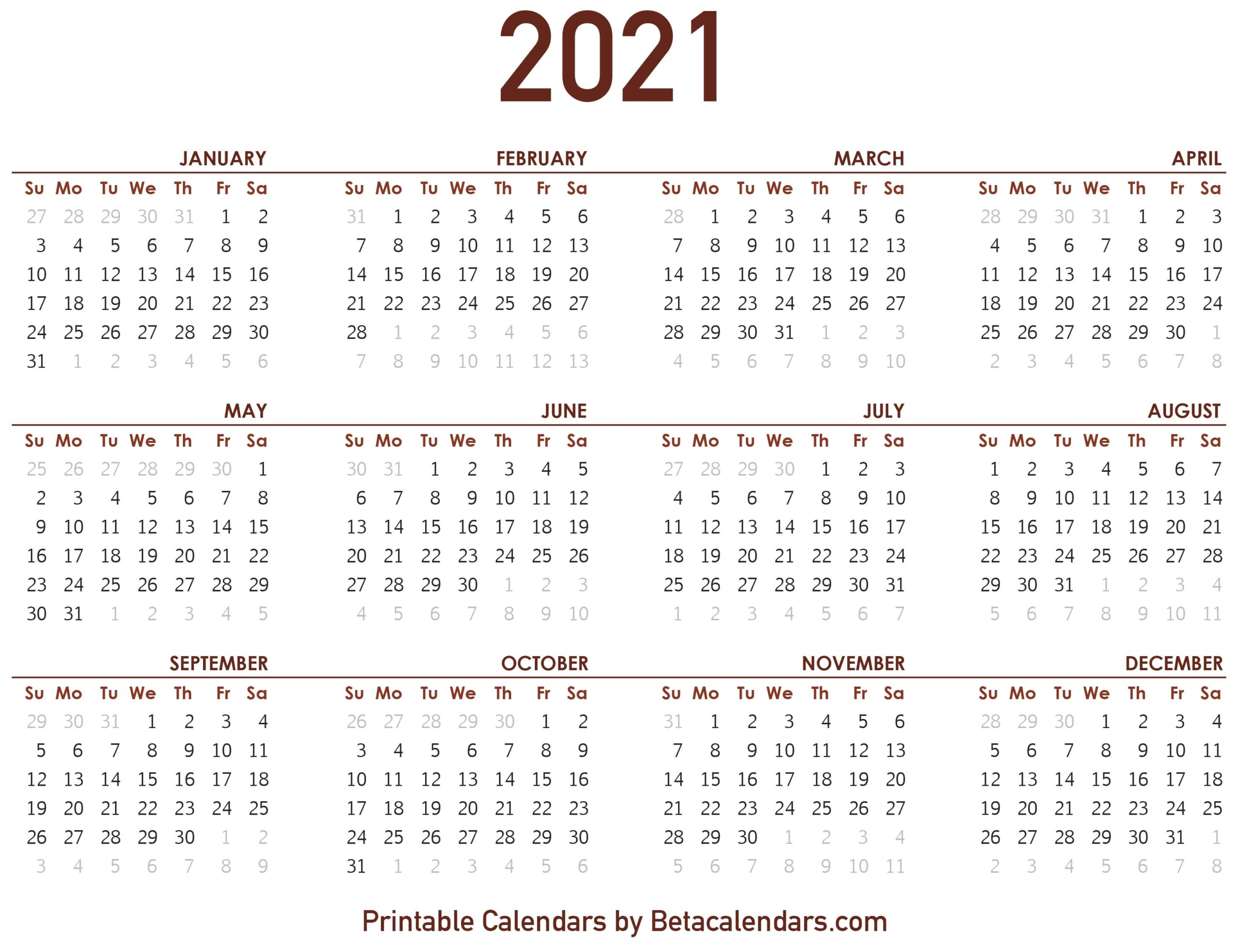 2021 Calendar 2021 Calendar   Beta Calendars