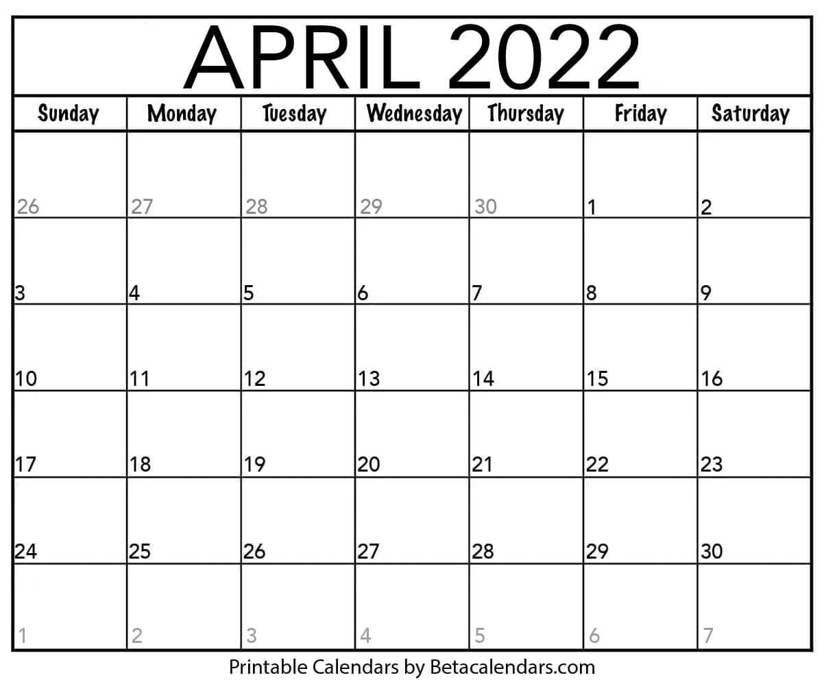 April 2022 Calendar Printable