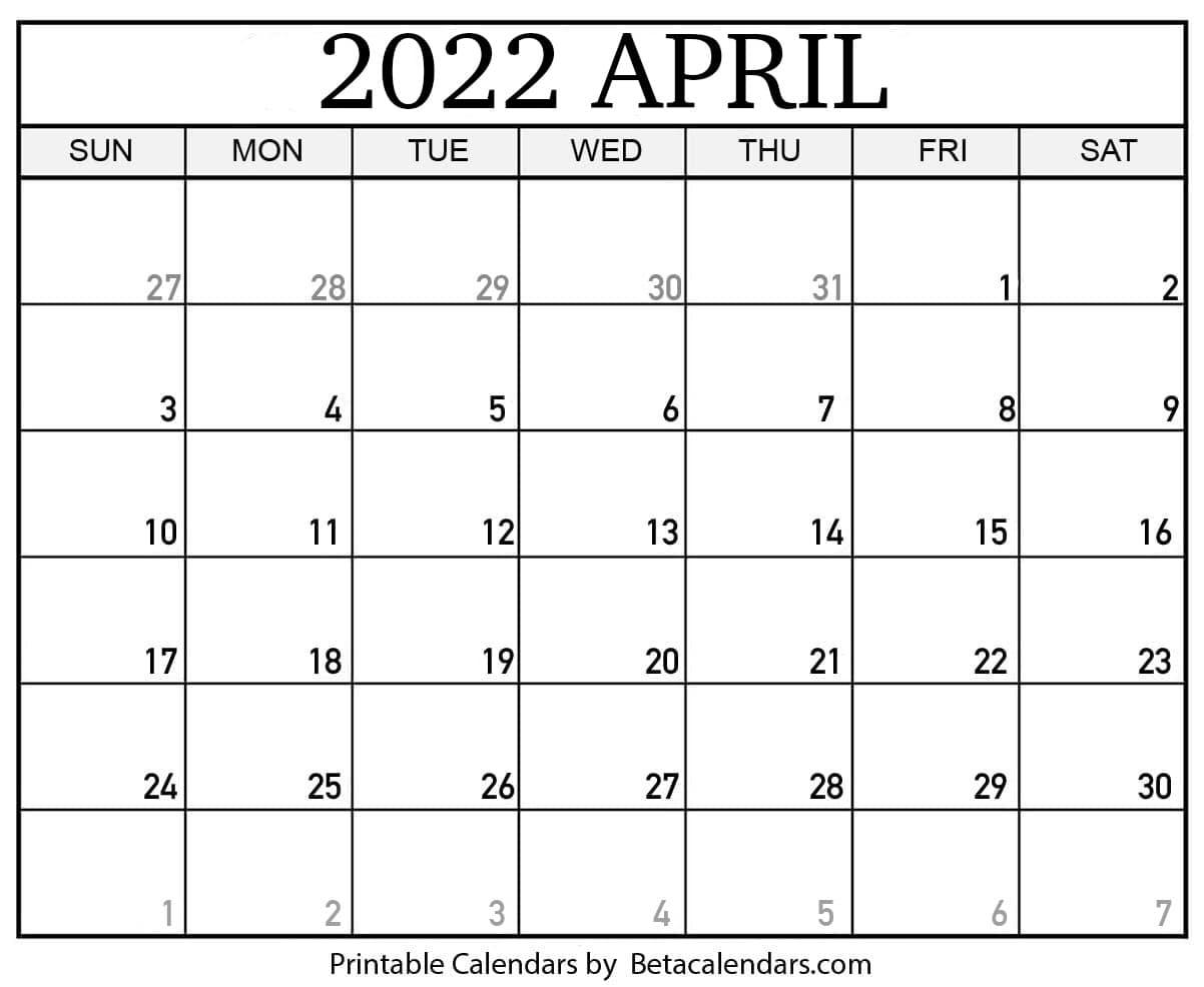 Blank April 2022 Calendar