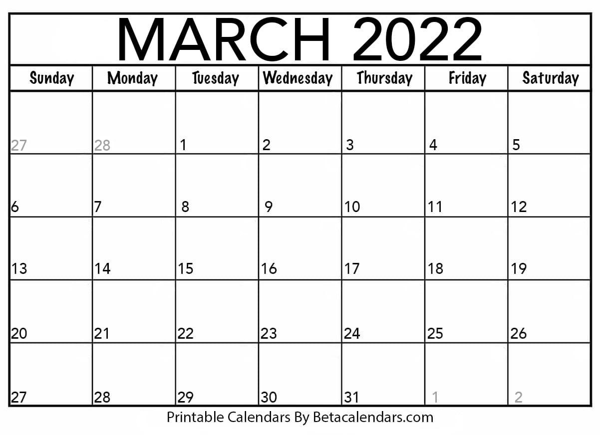 Blank March 2022 Calendar