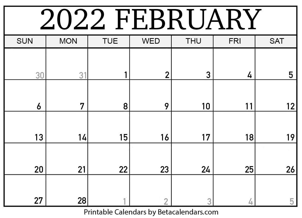 February 2022 Calendar Printable