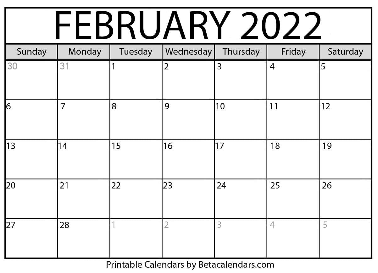 Moon Calendar February 2022.Free Printable February 2022 Calendar