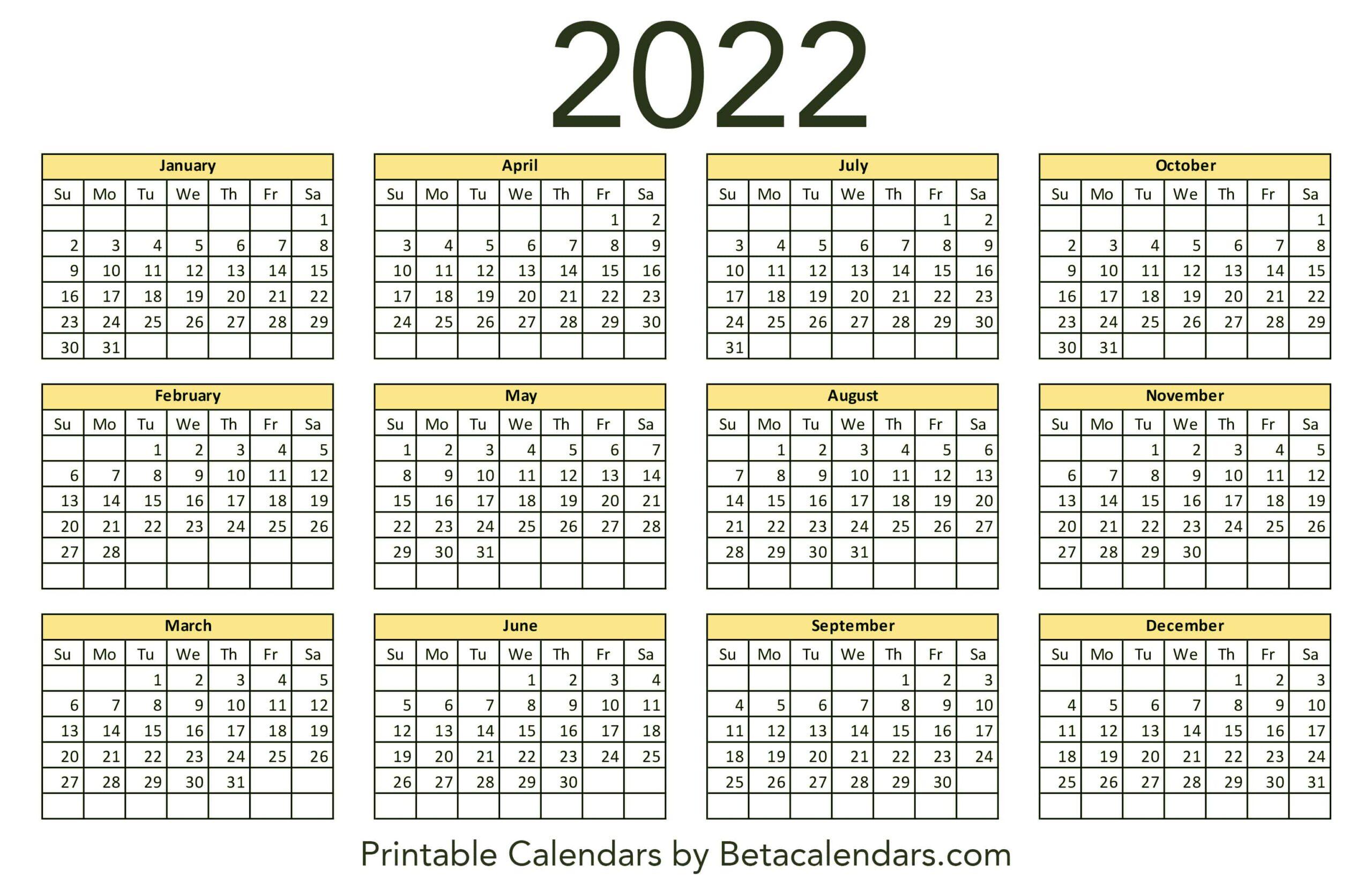 Calendar 2022 Printable Pdf.2022 Calendar Beta Calendars