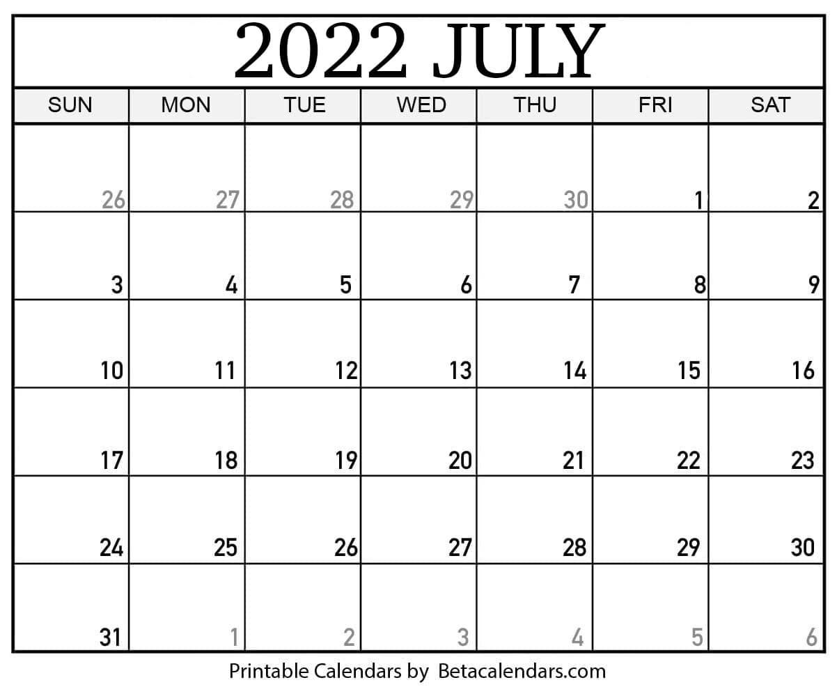 2022 July Calendar