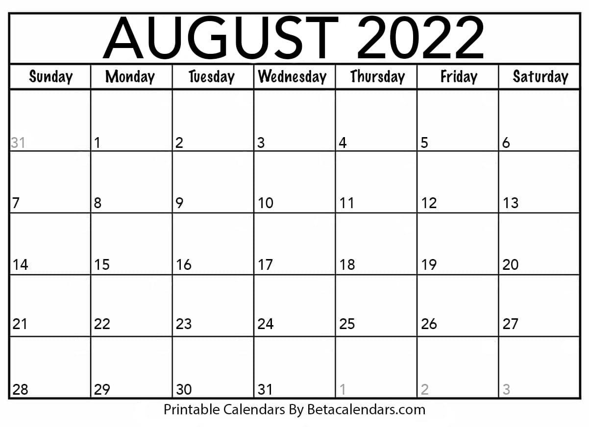 Blank August 2022 Calendar