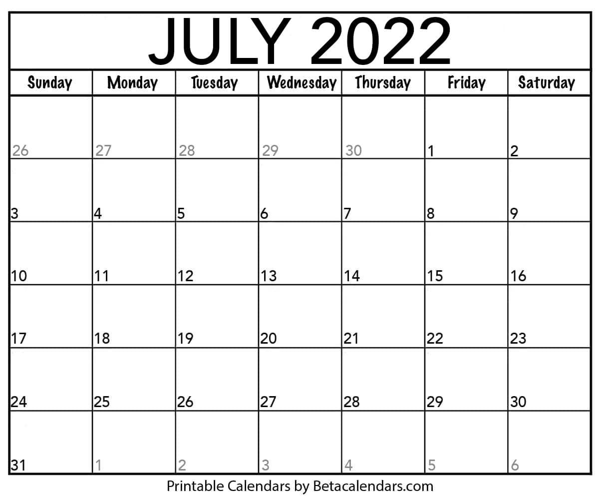 Blank July 2022 Calendar